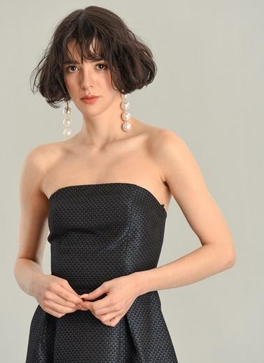 Agenda Jakar Kumaşlı Straplez Elbise Siyah